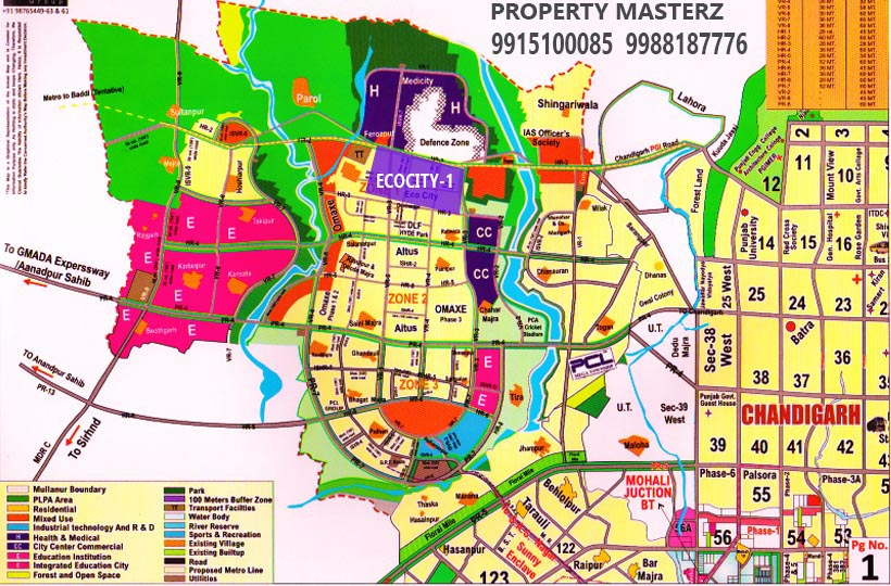 NEW CHANDIGARH LOCATION MAP OF ECOCITY 1 BY PROPERTY MASTERZ