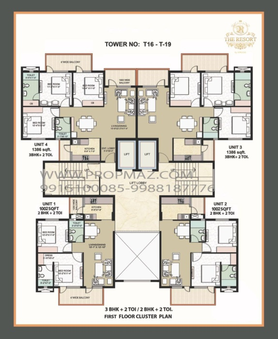 Omaxe the resort flats floor Plans